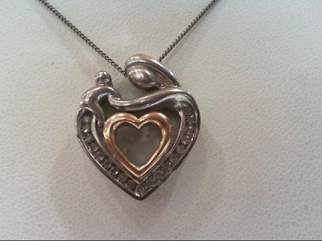 Silver-Diamond Pendant 19 Diamonds .19 Carat T.W. 925 Silver 5.2g