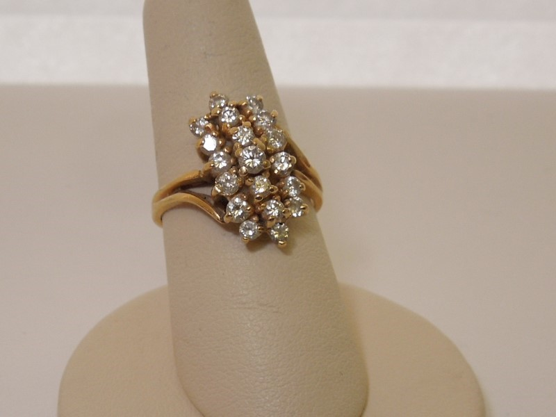 Lady's Diamond Cluster Ring 19 Diamonds .98 Carat T.W. 14K Yellow Gold 4.4g