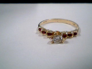 Synthetic Cubic Zirconia Lady's Stone Ring 14K Yellow Gold 1.6g Size:6.5