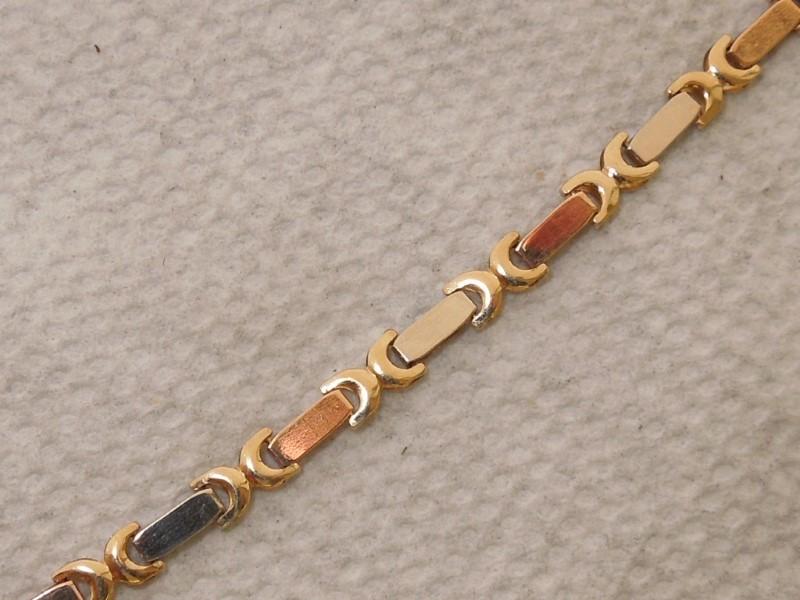 Gold Bracelet 14K Tri-color Gold 4.7g