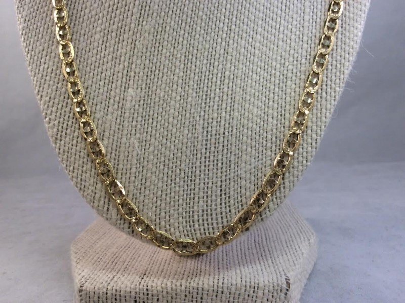 "22"" Gold Anchor Chain 14K Yellow Gold 12.93g"