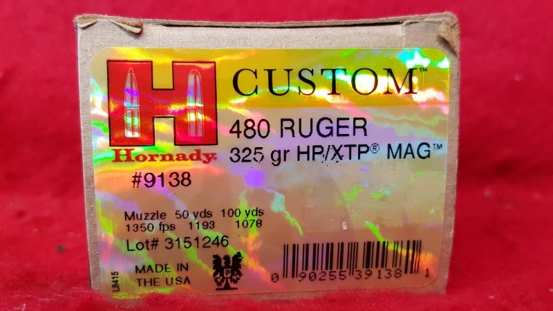 Hornaday #9138 480 RUGER 325gr HP/XTP Mag Ammo