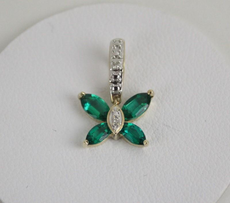 Synthetic Emerald & Diamond Butterfly Pendant 14KT YG