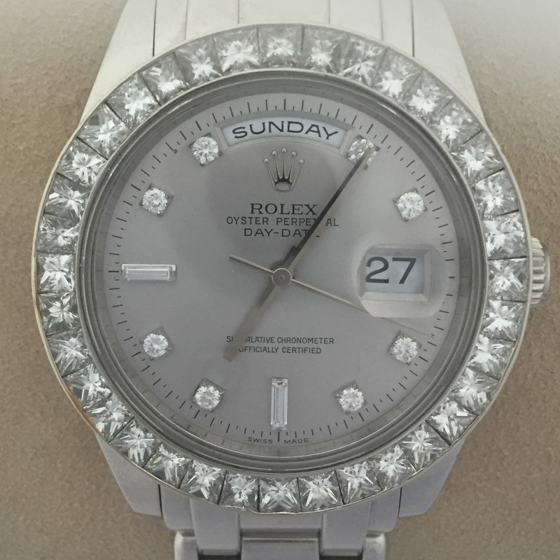 ROLEX 1995 MEN'S PLATINUM MASTERPIECE DIAMOND BEZEL WATCH 18946