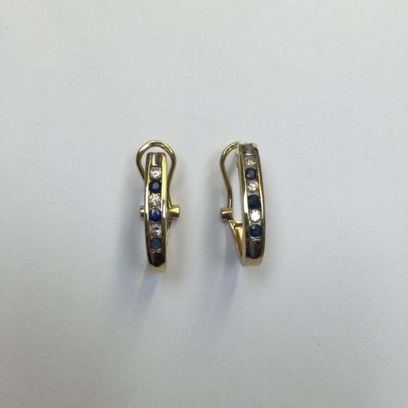 Synthetic Sapphire Gold-Diamond & Stone Earrings 6 Diamonds .06 Carat T.W.