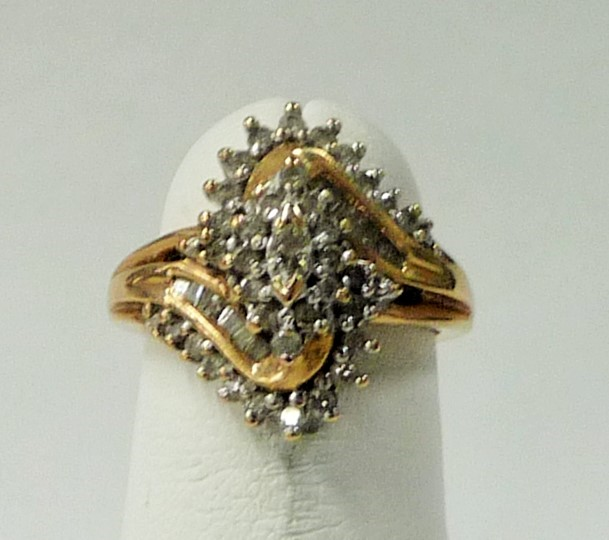 Lady's Diamond Cluster Ring 48 Diamonds .84 Carat T.W. 10K Yellow Gold 2.4dwt