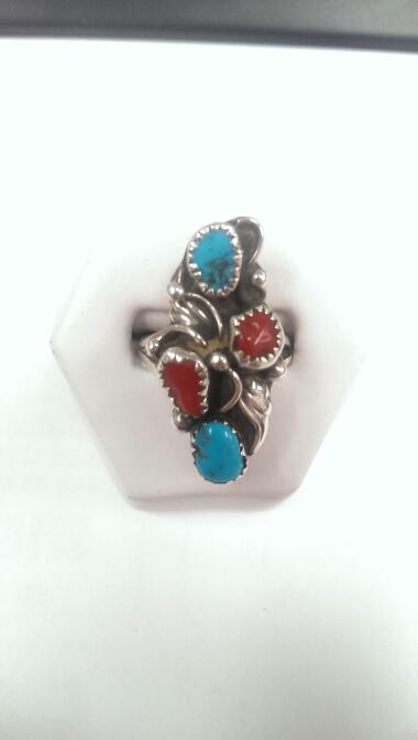 Turquoise and Coral Lady's Silver Ring 925 5.5g Size:6
