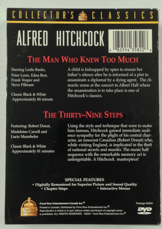 DVD BOX SET ALFRED HITCHCOCK COLLECTOR'S CLASSICS 2 DVD BOX SET