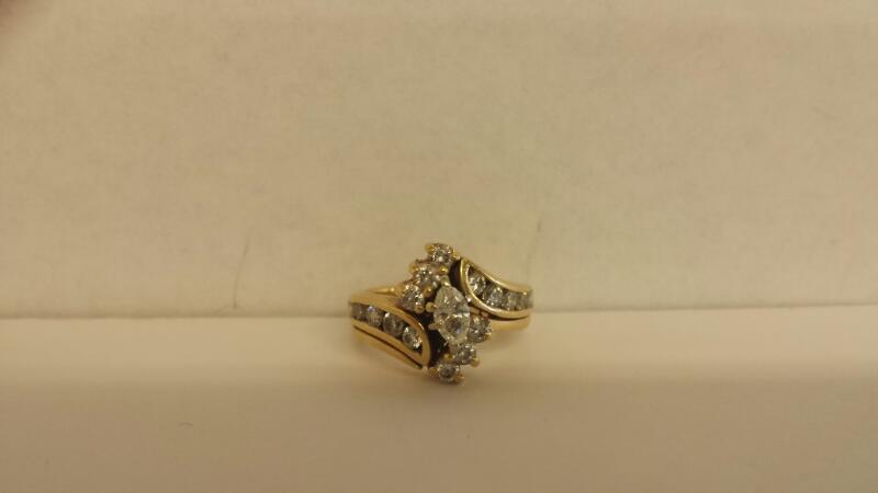 Lds 14K-YG 17 Dia Bridal Set .84Cttw Size 6