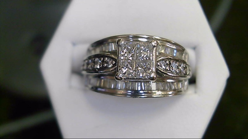 Lady's Diamond Cluster Ring 54 Diamonds 1.10 Carat T.W. 14K White Gold 6.8g