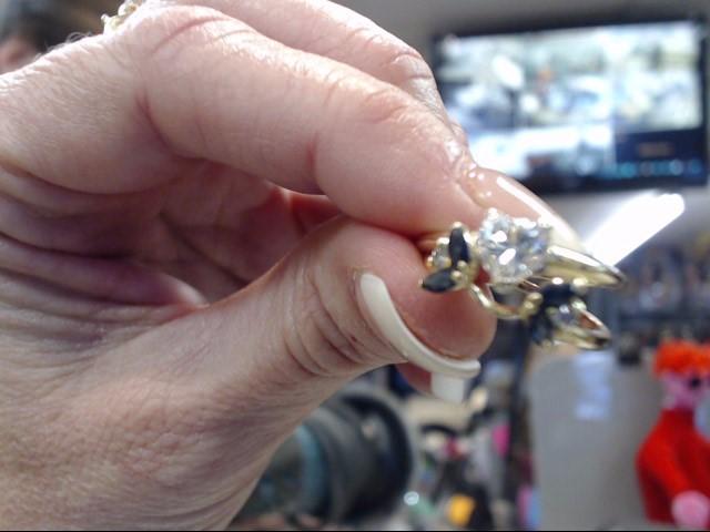 Sapphire Lady's Stone & Diamond Ring 3 Diamonds .81 Carat T.W. 14K Yellow Gold
