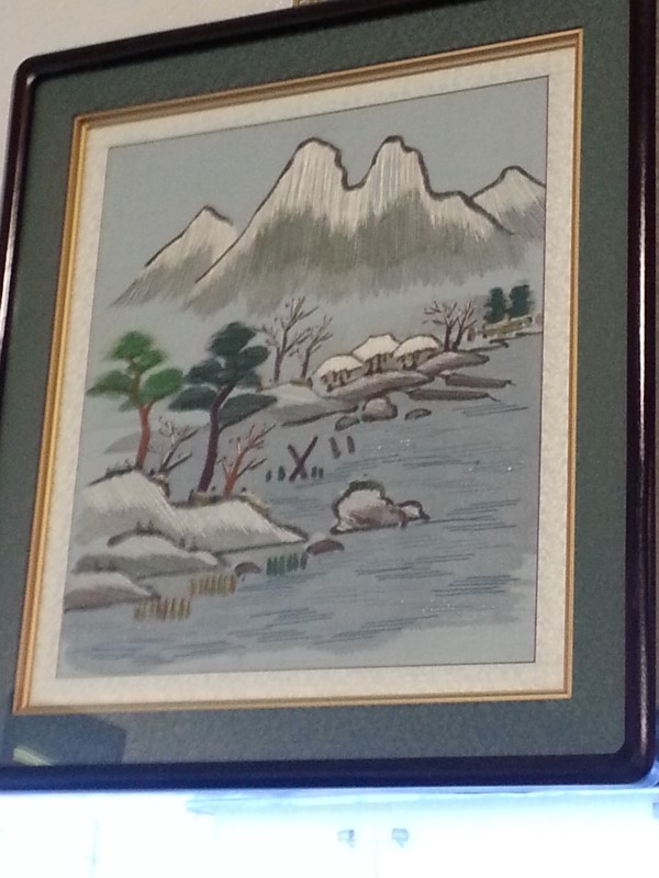 HAND STITCHED MOUNTAIN SCENE