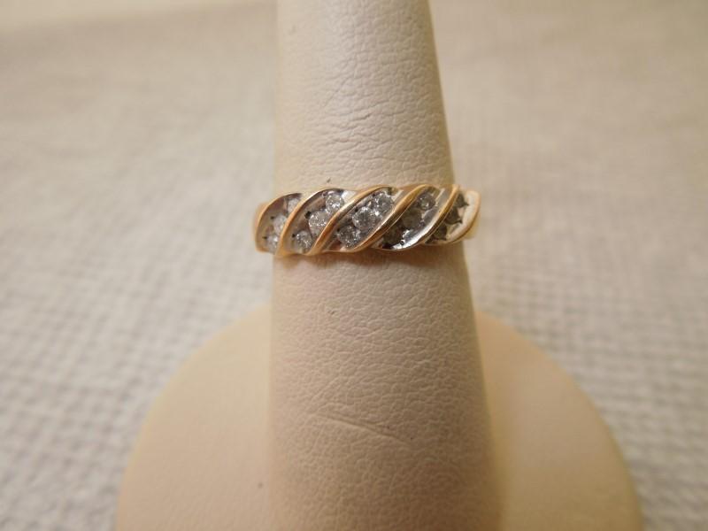 Lady's Diamond Fashion Ring 15 Diamonds .30 Carat T.W. 10K Yellow Gold 3g