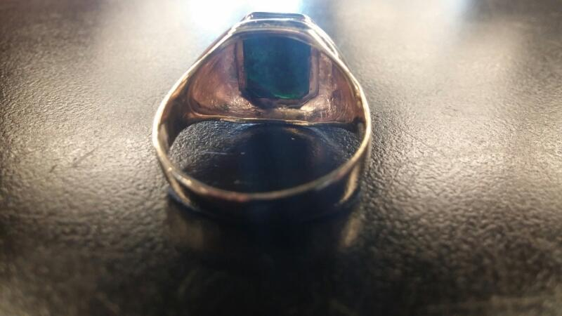 Synthetic Bloodstone Gent's Stone Ring 10K Yellow Gold 4dwt Size:11