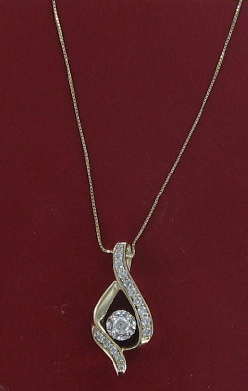 Diamond Necklace .15 CT. 14K Yellow Gold 2.8dwt