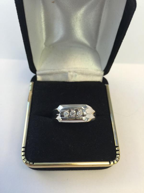 Gent's Gold-Diamond Wedding Band 3 Diamonds .24 Carat T.W. 14K White Gold