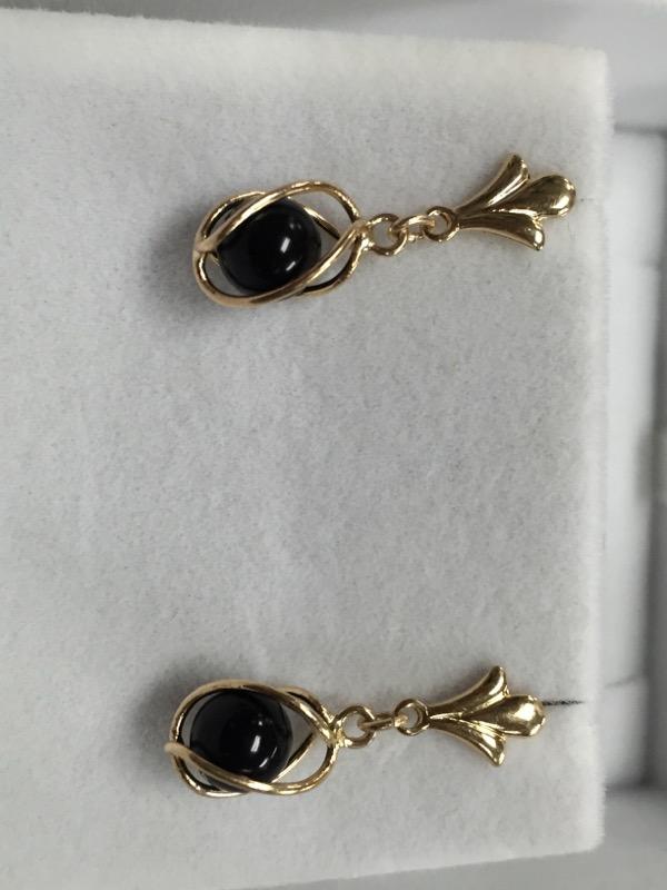 14K Gold Black Stone Orb Drop Earrings