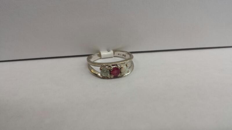 14k White Gold Ring with 3 Diamond Chips