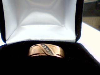 Gent's Gold-Diamond Wedding Band 3 Diamonds .06 Carat T.W. 10K Yellow Gold 4.3g