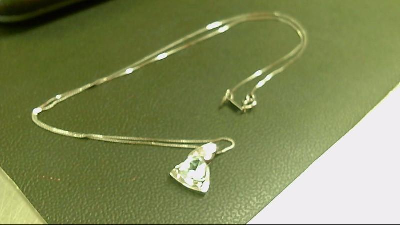 Teal Stone Diamond & Stone Necklace 4 Diamonds .04 Carat T.W. 14K White Gold
