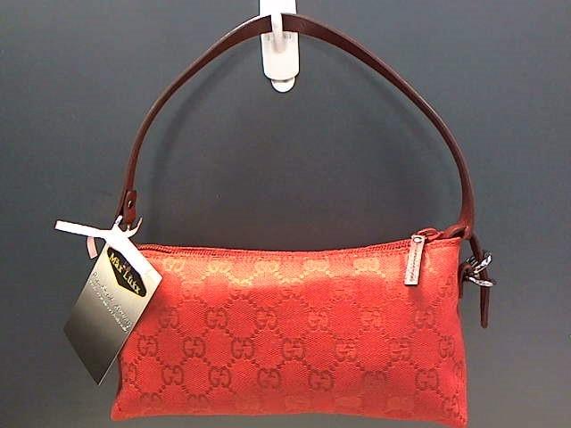 GUCCI 103399 RED GG FABRIC POCHETTE BAG