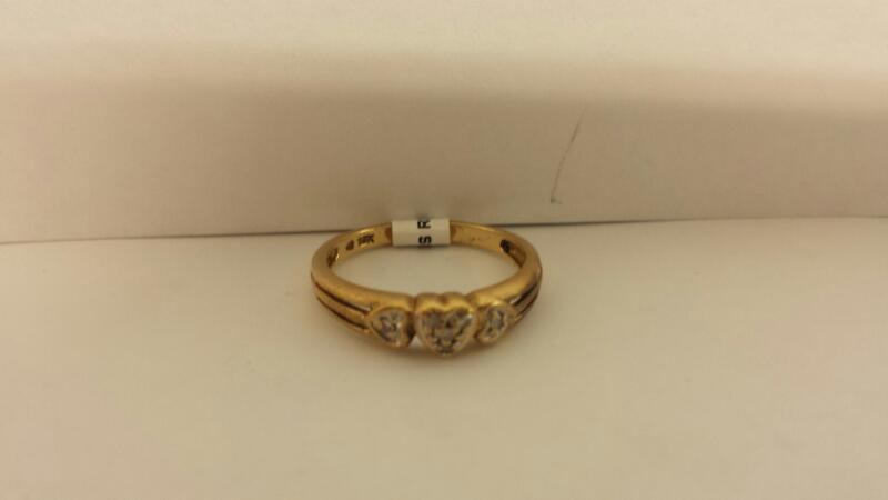 10k Yellow Gold Ring with 3 Diamond Chips Inside Hearts