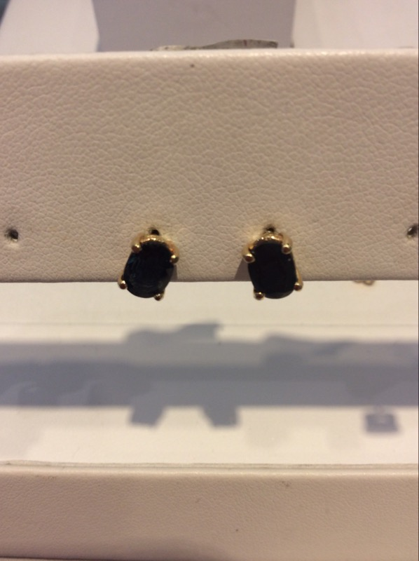 Yellow Gold Oval 7x5MM Genuine Oval Sapphire Earrings