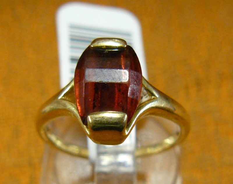 Synthetic Almandite Garnet Lady's Stone Ring 14K Yellow Gold 2.2dwt Size:5