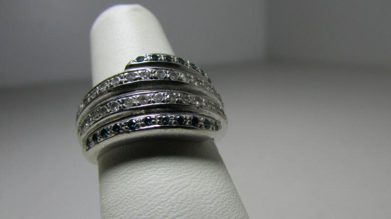 Lady's Diamond Ring 58 Diamonds .58 Carat T.W. 14K White Gold 8.29g
