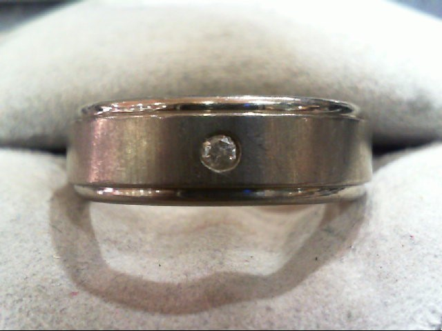 Gent's Diamond Wedding Band .05 CT. Silver Titanium 4.2g
