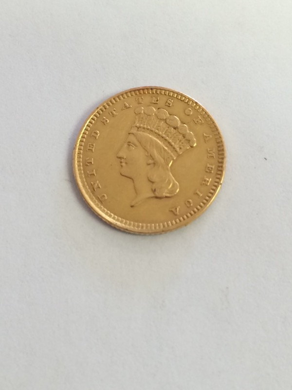 US Liberty Gold $1 Dollar Coin - 1862 - Jewelry Grade **Damaged**