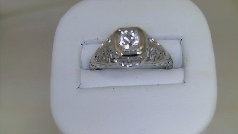 Synthetic Cubic Zirconia Lady's Stone Ring 18K White Gold 2g