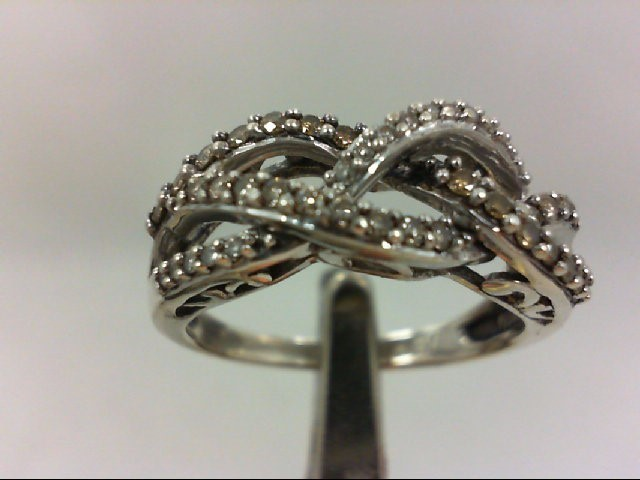 Lady's Silver-Diamond Ring 42 Diamonds .42 Carat T.W. 925 Silver 3.7g