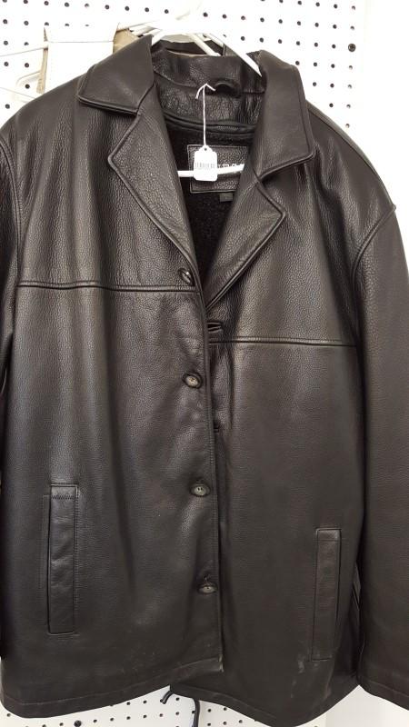 GUESS Coat/Jacket MENS LEATHER JACKET - BLACK LG