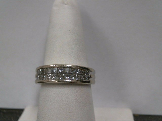 Gent's Gold-Diamond Wedding Band 22 Diamonds 1.10 Carat T.W. 14K White Gold