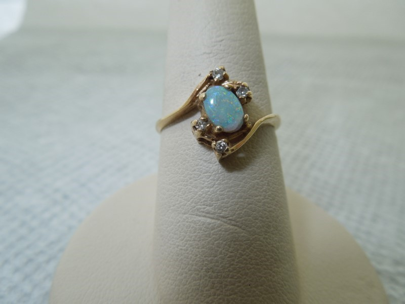 Synthetic Opal Lady's Stone & Diamond Ring 4 Diamonds .012 Carat T.W.