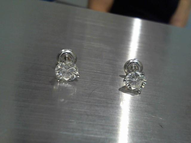 Gold-Diamond Earrings 2 Diamonds 2.06 Carat T.W. 14K White Gold 1.3g