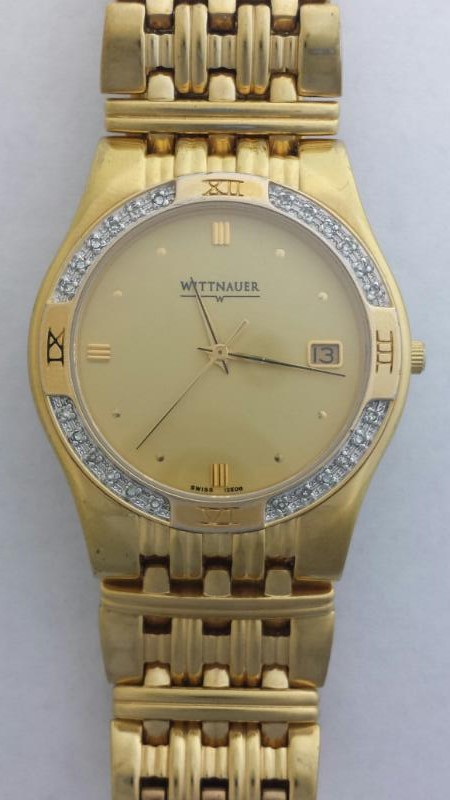 "Wittnauer Man's Diamond Goldplated Laureate Swiss Watch 12E08 4 1/2"""