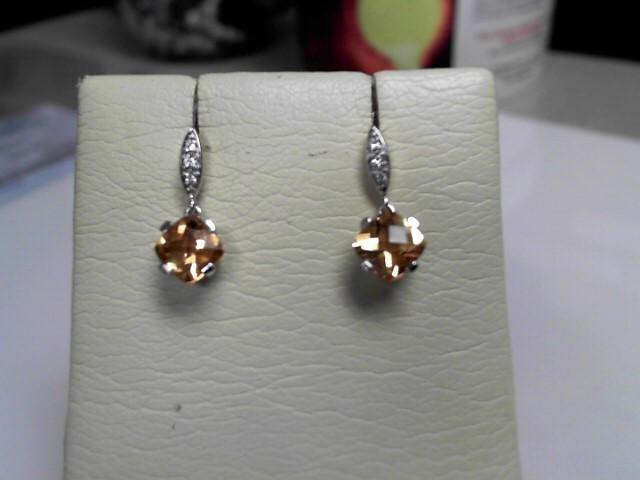 Topaz & Diamond Earrrings 14K White Gold 2.5g