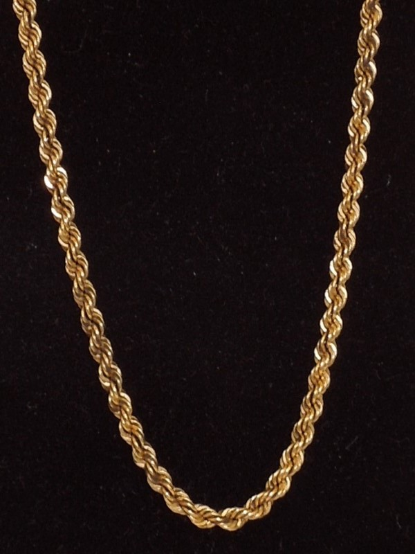 """18"""" Gold Rope Chain 14K Yellow Gold 16.4g"""