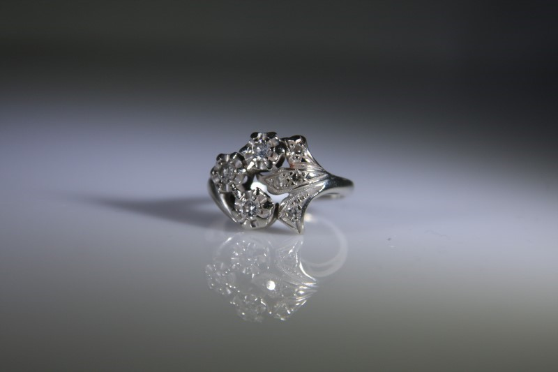 Lady's Diamond Fashion Ring 7 Diamonds .36 Carat T.W. 14K White Gold 4.4g