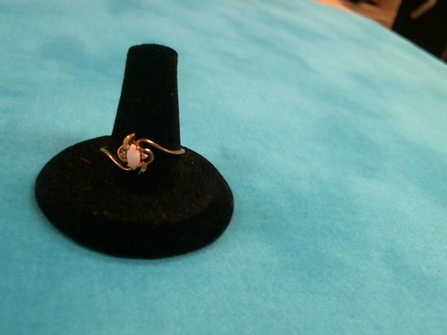 White Stone Lady's Stone Ring 10K Yellow Gold 0.9dwt