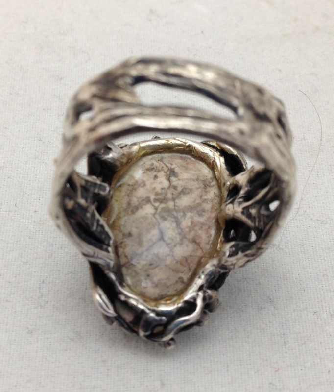Lady's Sterling Silver Iridescent Marbled Stoned Ring Size 8 1/2