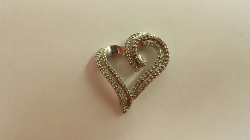 10k White Gold Heart Pendant with 184 Diamonds