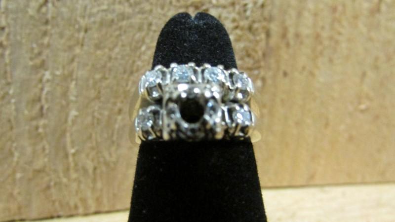 Antique Lady's Diamond Wedding Set 10 Diamonds .34 Carat T.W. 14K White Gold