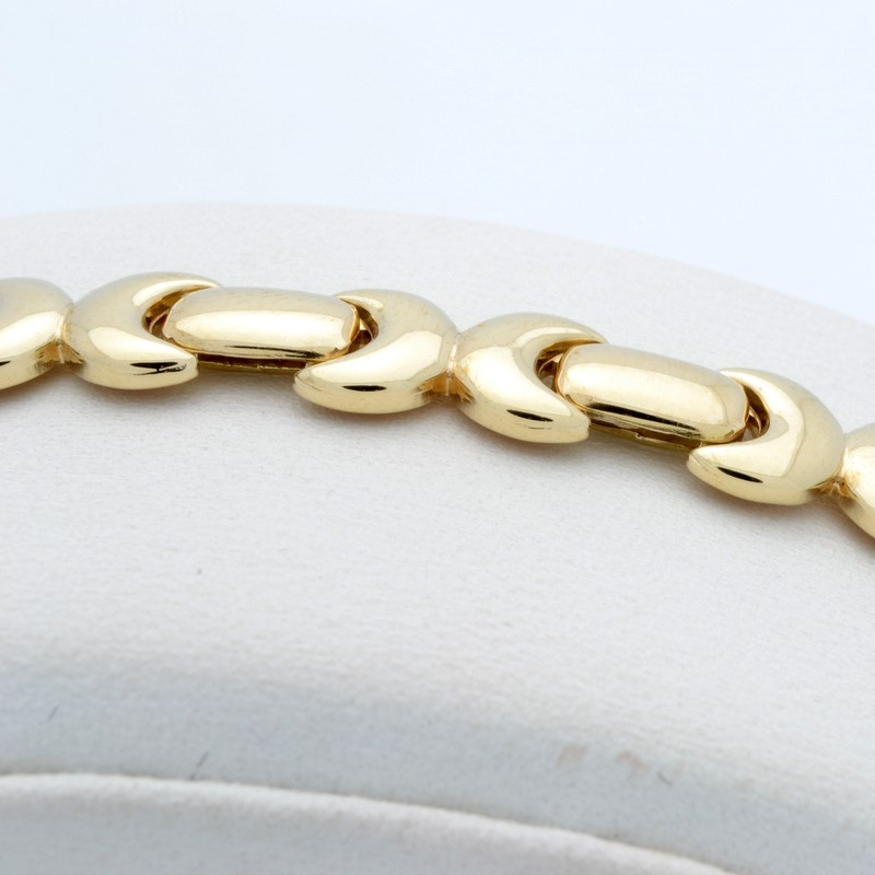 "ESTATE SOLID 14K YELLOW GOLD BRACELET LONG LINK ITALY 11.8g 7.5"""