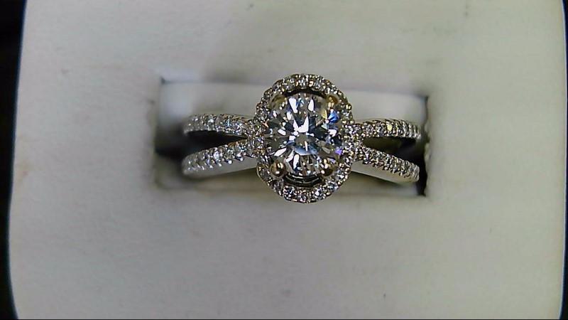 ESTATE WG .71CT (H-VS2) ROUND DIAMOND HALLO PAVED RD DIAMONDS LADIES RING