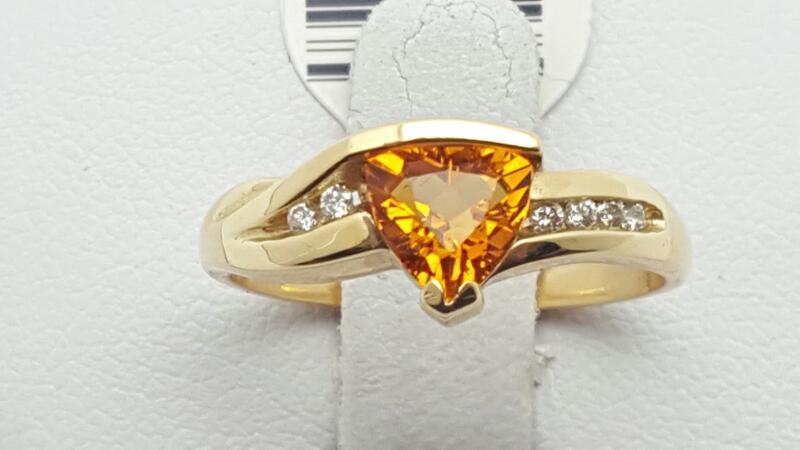 Citrine Lady's Stone & Diamond Ring 8 Diamonds .08 Carat T.W. 14K Yellow Gold 2.