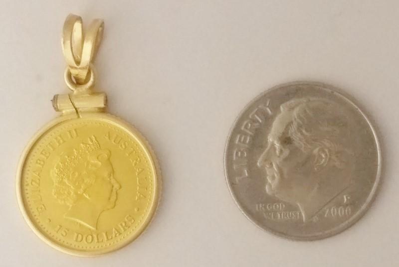2006 Australia Lunar Year of the Dog 1/10 OZ .9999 Gold Coin 14K Bezel