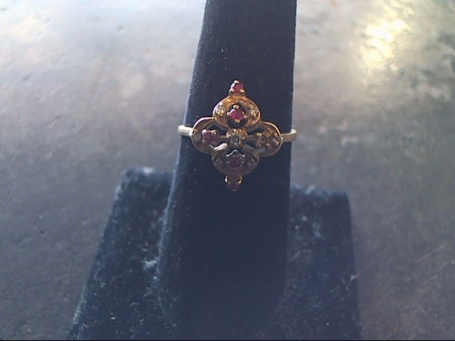 Synthetic Ruby Lady's Stone & Diamond Ring 7 Diamonds .09 Carat T.W.